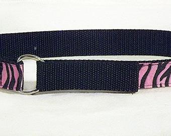 Pink tiger toddler belt on black nylon web