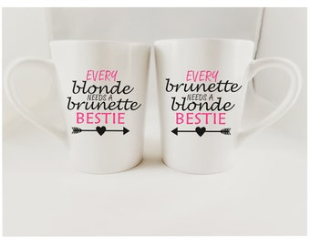 Vinyl Decal / Mug Vinyl Decal / Car Vinyl Decal / Every Blonde needs a Brunette Bestie / Every Brunette needs a Blonde Bestie