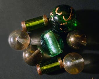 8 large Indonesian glass beads and green Indian gold