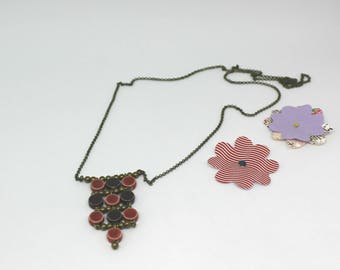 Ceramic collection: necklace red and purple - ceramic beads offered earrings