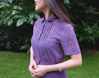 Elevint Japanese 1970s Chiffon Dual Color Shirt Dress S-M