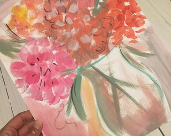 Abstract painted Hydrangea