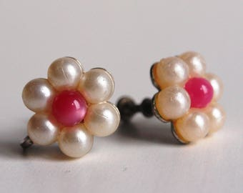 50er Jahre Ohrringe Blumen Perlen Clips 50s earrings Vintage