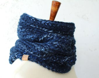 crochet cowl wool blend blue cowl unisex cowl  crocheted wool cowl black owned business crocheted wool snood wool scarf crochet blue scarf