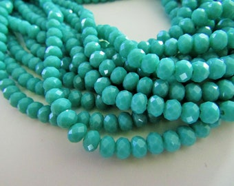 95 pcs RONDELLE FACETED GLASS Crystal Beads 6mm Opaque Turqouise