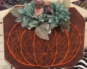 Pumpkin String Art with Flowers