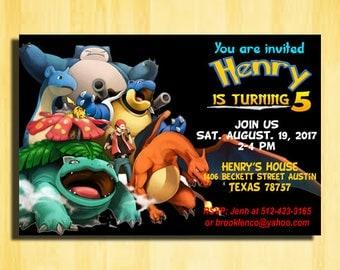 Pokemon Monster, Pokemon Invitation, Pokemon Birthday Invitation, Pokemon Birthday Party, Pokemon Party Invitations,Pokemon Birthday,Pokemon