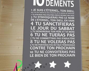 "Canvas ""the 10 commandments"" (dark grey)"