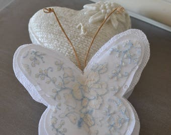 romantic, white and blue scent Butterfly Lavender cotton.