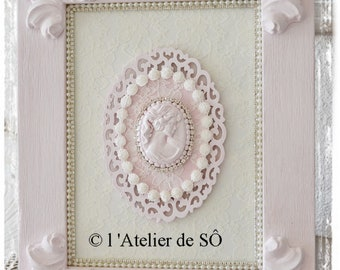 Cadre-Tableau shabby chic rose 12