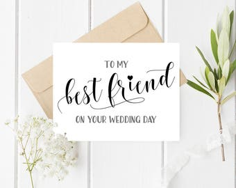 To My Best Friend On Your Wedding Day Card Printable For