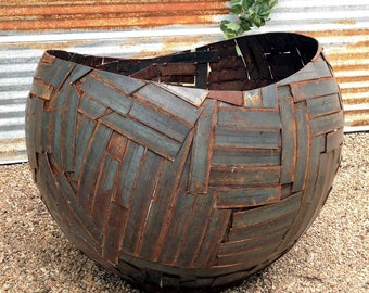 woven sphere fire bowl sculptural fire pit steel fire bowl modern fire pit - Fire Pit Bowl