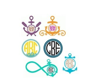 Anchor Monogram,Nautical Monogram,Nautical decals,anchor decals,summer,boating,salt life,gift for her,beach love,ocean waves,ocean blues