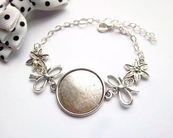 x bracelet holder silver 25 mm, stylized bow and flower-star ring