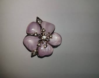 vintage pink dogwood bloom with rhinestone accents by monet