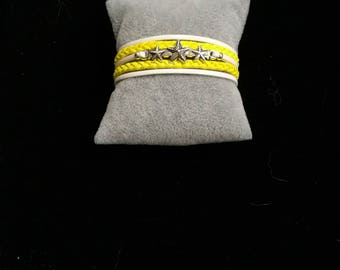 MULTISTRAND white and yellow leather bracelet