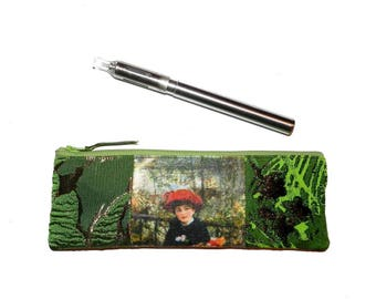 "Kit for electronic cigarette or pencil, ""Renoir"" pattern, green"