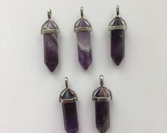 5 Amethyst Point Pendant Charms
