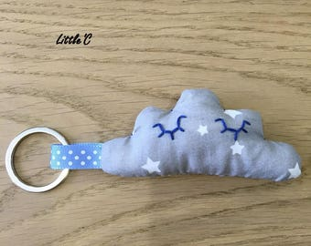 Cloud - grey star - stitched Keychain hand - many colors available