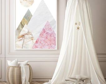 Abstract Landscape Art, Art Collage, Mountain Wall Art, Minimalist Wall Decor, Modern Art Posters, Marble Print Framed