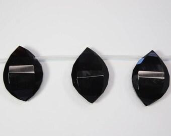Gemstone Beads, Black Onyx, Chunky Stones, Black Stone, Teardrop, Faceted Stone, DIY, BS263
