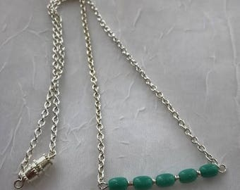Silver Bar Necklace with Turquoise Beads