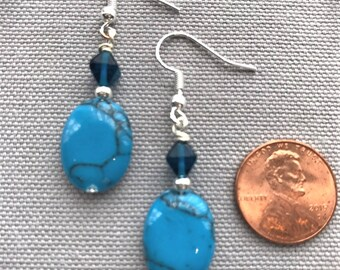 Turquoise Stone and Glass Bead Earrings