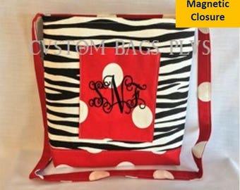 Black Zebra & Red Polka Dots Cross-Body Messenger Bag with Black Monogram