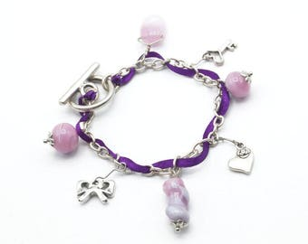 Charm bracelet with pink and purple - A44 Lampwork Glass Beads