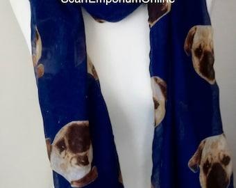 Pug Dog Blue scarf