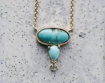 Pear & Oval Shaped Turquoise Diamond Necklace | 14kt Yellow Gold and Turquoise Necklace | Fine Modern Jewelry | Bohemian Jewelry | Diamond