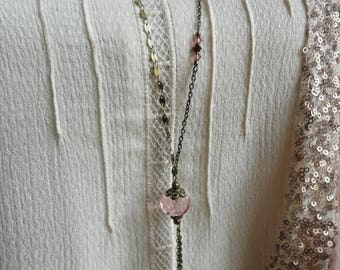 Long necklace pink Necklace: large Crystal bead