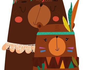 Wall decals sticker decor kids print A3 bear Indian ref 55