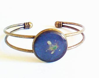 Branch double Bangle Bracelet, blue jeans and his task of gold, light collection.
