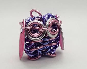 Purple and Pink Chainmaille Owl Sculpture