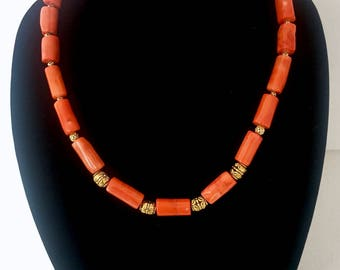 Orange Bamboo Coral Necklace with Beads