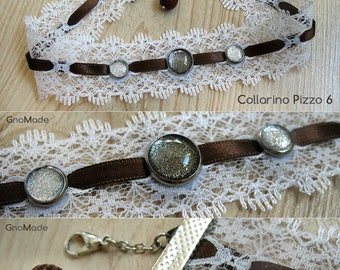 Collars/Choker necklaces from 35/40 cm in lace with cabochon
