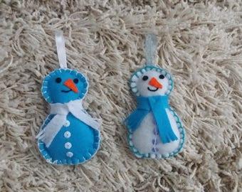 Lot of 2 snowmen felt blue & White Christmas tree decoration.  Denoël decoration.
