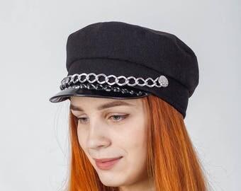 captain hat  black fiddler cap with chain  newsboy cap women  baker boy cap  polish cap  fisherman cap   john lennon cap women combat cap