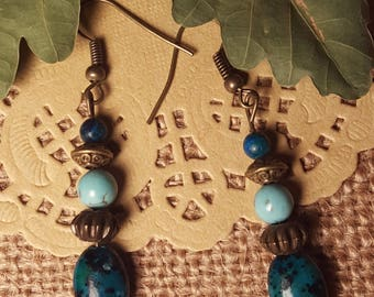 Teal/Turquois Colored Earrings with Bronze Accent Beads