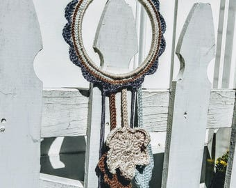 Dream Catcher with Leaves and Pearls - Decorative Crochet Wall Art