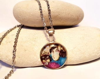 girl with cat cabochon necklace