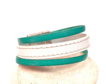 Cuff leather 3 row white and turquoise blue leather
