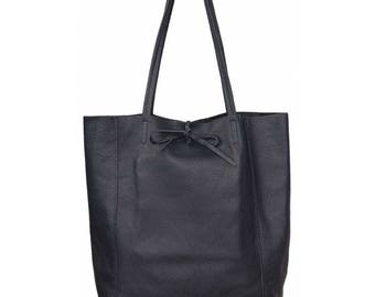 Woman leather tote bag, Navy Blue