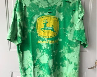 Bleached and Ripped Distressed John Deere Shirt