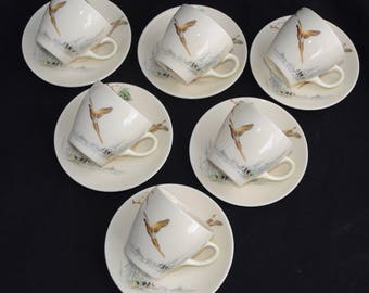 Set of 6 Vintage Royal Doulton THE COPPICE D5803 Demitasse Cup & Saucers - Game Birds