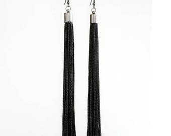 Extra Long Drop Tassel Earrings   16cm Long Black Tassels   Boho Style   Slimline Black Tassel Earrings   Elegant Tassel Earrings