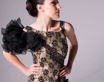 Francesca' lace backless couture evening gown