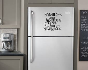 """Family Where Life Begins and Love Never Ends, Black, 25cm x 25cm (10"""" x 10""""), Vinyl Decal - Wall Decor, Kitchen Decoration, Fridge Phrase"""