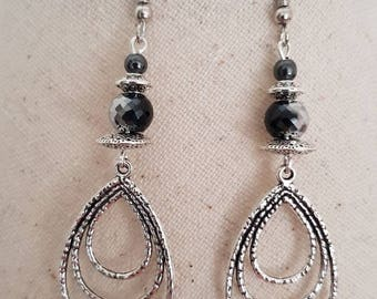 Silver Pearl glass bead charm black hematite drop hook earrings